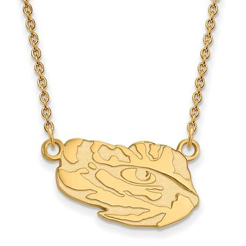 NCAA 14k Gold Plated Silver Louisiana State Small Pendant Necklace