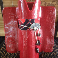 Red Japanese ceramic kimono wall-hanging or tabletop vase with fabric obi and metal stand