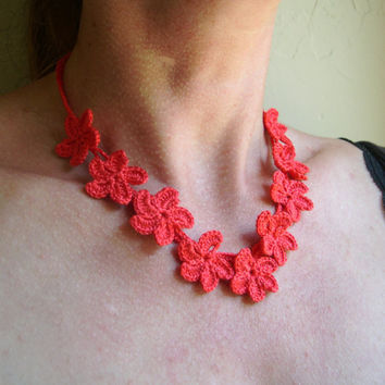 Coral Flower Crocheted Necklace - Lace Fashion 2014 - Bridesmaid Coral Necklace - Lace fashion Necklace