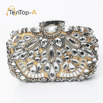 TenTop-A Luxury Crystal Beaded Diamond Evening bag Three-dimensional Party bag purse handbag clutches bag Bridal Pouch Hard Case