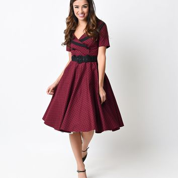 Hell Bunny 1950s Style Burgundy & Black Dot Mimi Button Swing Dress
