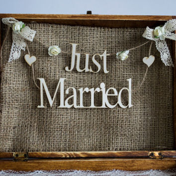 Banner Wedding Shabby Chic Cake topper  Rustic Banner Just married Burlap Lace Banner wedding decoration Sign Cards Box Banner