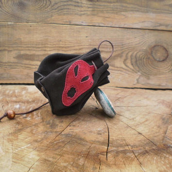 Drawstring leather pouch, Coin Purse, dark brown leather, small leather pouch, leather  purse,skull, tobacco pouch bags, key and money pouch