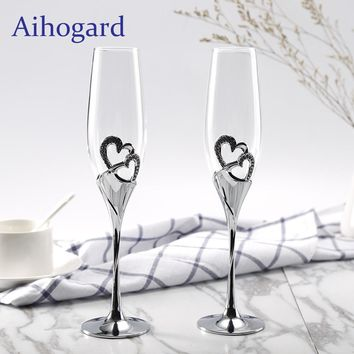 Aihogard 2 PCS / Set Champagne Crystal Silver Toasting Flutes Long Wine Glasses Wedding Party cup Wine Drink Gifts