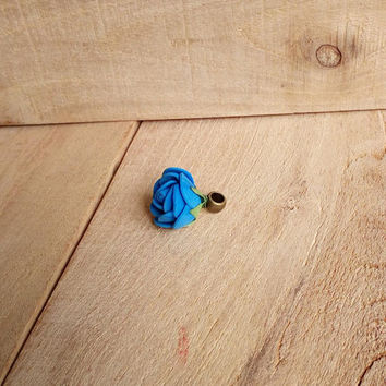 Dreadlock accessories, dread bead, dark blue hair jewelry, hair cuff, rose bead