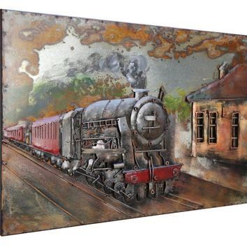 3D Sculpture Artwork Train 100% Handmade Metal Unique Wall Art - Home Decor - Ready to Hang