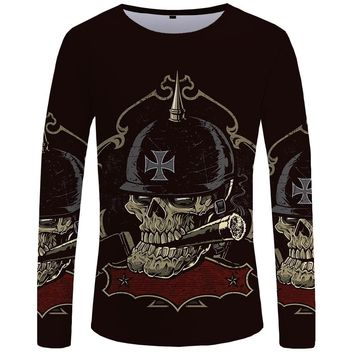 Skull Long sleeve T shirt Punk Gothic Men Fashion