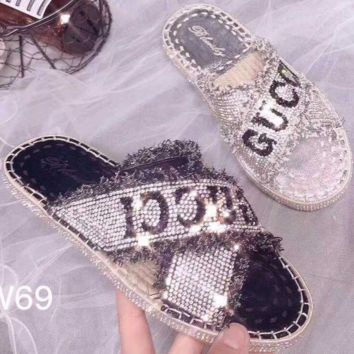 GUCCI Rhinestone cross-block coloured letter fringed hemp braided linen flat sandals F0351-1
