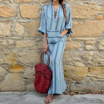 Bold Sky Blue Striped Cotton Linen Style Pocketed Maxi Dresses