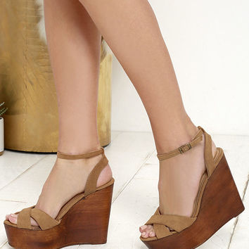 Creative Mind Tan Suede Platform Wedges