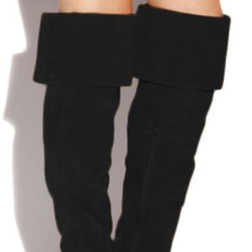 High Ambitions Black Vegan Suede Leather High Heel Fringe Over the Knee Folded Thigh High Boots - Ships September 15