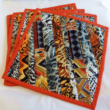 Quilted Table mats - Dinning Table Place mats  - African Theme Place mats - Dinner Place mats - Patchwork Place mats - Reversible Mats