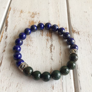 Healing Anxiety ~ Genuine Bloodstone & Lapis Lazuli Bracelet w/ Sterling Silver Celtic Charms