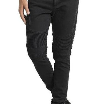 Ron Tomson Black Side Quilted Skinny Washed Moto Jeans
