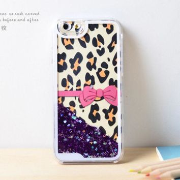 LMFEJ6 Bow Leopard Dynamic Liquid Purple Glitter Sand Quicksand Bling Clear iPhone 6 Plus case Retro flower Phone Case