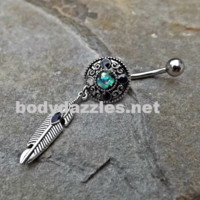 Tribal Opal Green Belly Button Navel Ring Body Jewelry Fits in Navel 14ga Cute Belly Surgical Steel