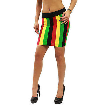 New Rasta Empress Reggae Jamaica Vertical Stripe Mini Skirt Size S M L HRA3209