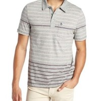 Original Penguin Men's Engineered Stripe Pocket  Short Sleeve Polo Shirt, Rain Heather, Medium