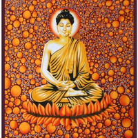 "58""X82"" Buddha On Psychedelic Orange Background Tapestry"