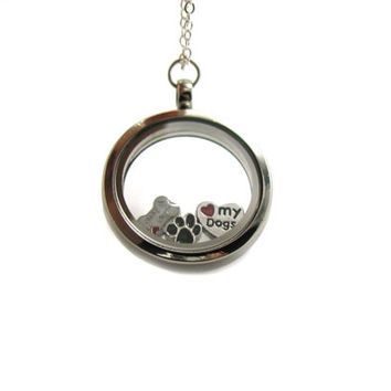 Floating Charm Locket Necklace, Memory Locket, Floating Charm Necklace, Memory Locket Necklace, Animal Necklace, Floating Locket, Dog Lover