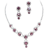 Stunning Y Drop Evening Party Purple Bridal Necklace Earring Rhinestone Bling B5