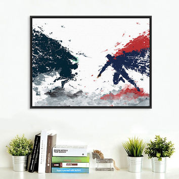 Original Watercolor Batman vs Superman Pop Movie A4 Art Print Poster Wall Picture Canvas Painting No Framed Kids Room Home Decor