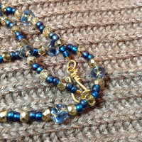 Christmas in July - Starry Nights Necklace with Vintage Blue Glass square beads & czech gold crystal - 24kt vermeil clasp -cobalt and gilt