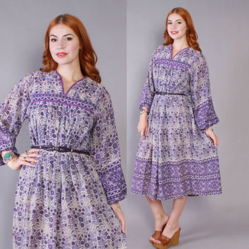 70s ETHNIC India Cotton Floral DRESS / 1970s Sheer Purple Indian Boho Festival Gauze Midi