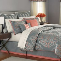 Martha Stewart Collection Bedding, Grand Damask 24 Piece Queen Comforter Set - Bed in a Bag - Bed & Bath - Macy's