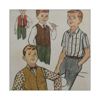 Uncut Vintage Sewing Pattern 1960s Boys Size 14  Shirt and Reversible Vest Simplicity 4161