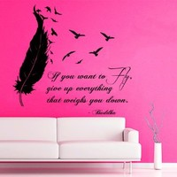 Wall Decals Vinyl Decal Sticker Children Kids Nursery Baby Room Interior Design Home Decor Birds Flying Buddha Quotes If You Want to Flight Give up Everything That Weighs You Down Feather Kg717