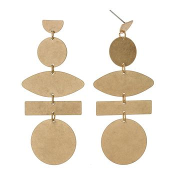 Nala Geometric Dangle Earrings - Gold