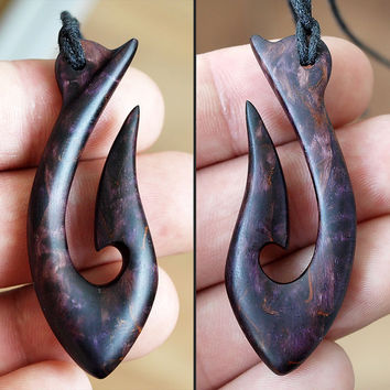 Fish hook necklace, Wood hook, Wooden necklace, Wooden pendant, Wood jewelry, Maori hook, Maori necklace, Hei matau, Men necklace