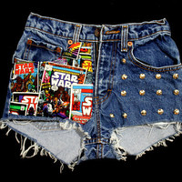 Comic Star Wars. ANY SIZE Vintage High Waisted Studded Denim Shorts