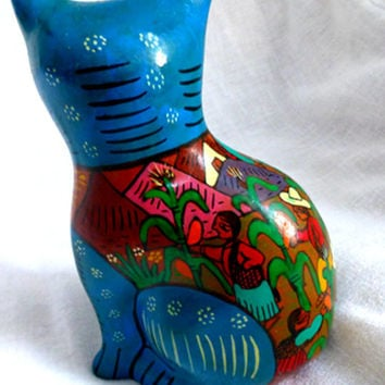 "Vintage Mexican Ceramic Cat -Folk Art Handpainted 7"" Blue Cat by Roberto Lazaro- 80s Boho Collectible Kitsch Home Decor Kids Room Animal"