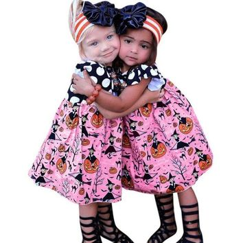 2018 Halloween Girls Dress Toddler Children Clothing Polka Dots Pumpkin Kids A Line Dress Vestidos Baby Girl Clothes D0952