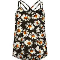 Full Tilt Daisy Print Girls Cross Back Swing Tank Black Combo  In Sizes