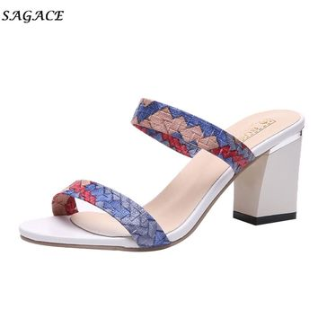 SAGACE shoes woman  Mixed Colors Sandals High Heels 7.5cm Open-toed Leisure Sexy Heeled Sandals Lady leather Summer  Shoes