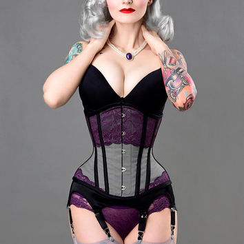 Gay purple violet waist training tightlacing gothic steel underbust corset