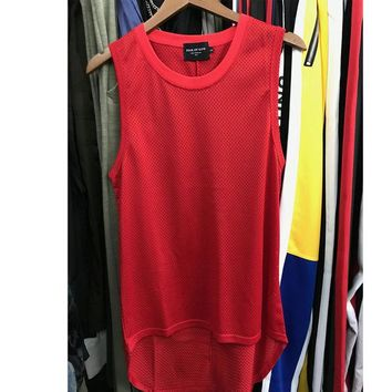 Punk Hipster T-shirt Fear Of God Tank Tops Men's Black Red Gray Mesh Casual Sleeveless T-Shirt Hip-Hop  Fear Of God Tank Tops High Street AT_47_3