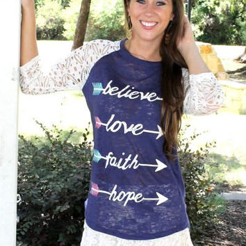 Believe Faith Love Hope Arrow Burnout Shirt by KrystylsTrendyFinds