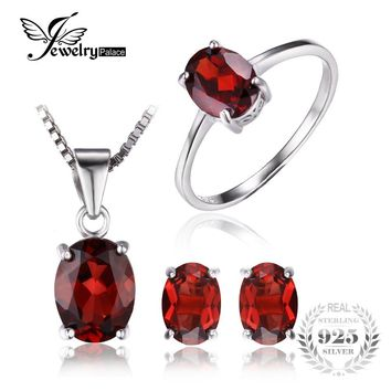 JewelryPalace 5ct Oval  Natural Gemstone Red Garnet Ring Earrings Pendant Necklace Pure 925 Sterling Silver Fine Jewelry