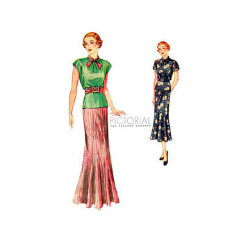 1930s Pictorial Review Sewing Pattern 8117 Two Piece Dress in Day or Evening Length Size 16 Bust 34 Unused