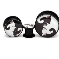 Black Acrylic Cat Yin Yang Picture Plugs gauges - 8g, 6g, 4g, 2g, 0g, 00g, 7/16, 1/2, 9/16, 5/8, 3/4, 7/8, 1 inch