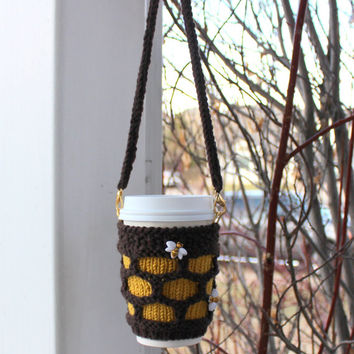 Coffee cozy Hands-free carrying cup sling. Bumble bees Hive honey. Starbucks cup sleeve Travel mug cozy. Hand knitted cup cozy. Yellow brown