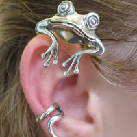 Silver Curious Frog Ear Wrap by martymagic on Etsy