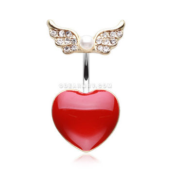 Golden Angel Heart Belly Button Ring (Clear)