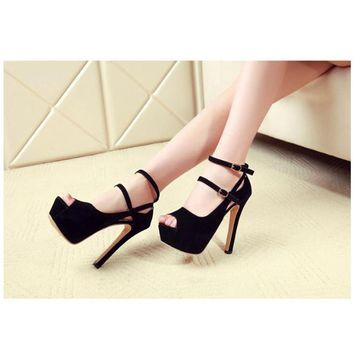 New Sexy Peep Toe Thin Heels Women Pumps Suede Platform  Ankle Strap Pumps Wedding Party Shoes Pumps For Women