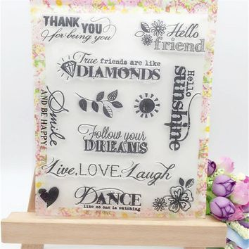 Hello Friends Thank You Transparent Clear Stamp DIY Silicone Seals Scrapbooking/Card Making/Photo Album Decorative Crafts