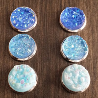 Druzy earring set- Blue sky drusy stud set - druzy earrings